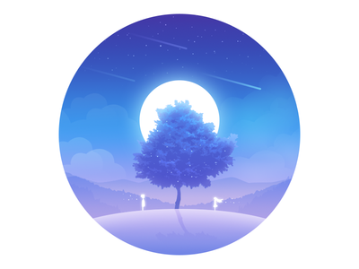 Tree sky tree moon lonely illustration child dream