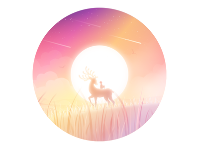 Meadow meadow child sun lonely illustration dream animal
