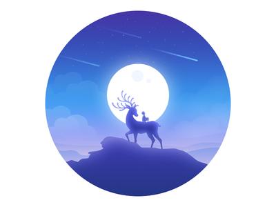 Visit blue sky moon lonely illustration dream deer child
