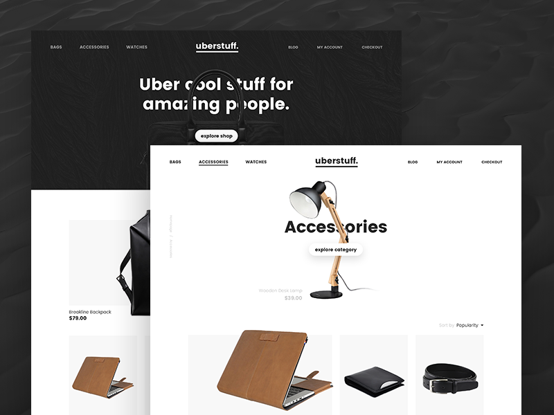 Uberstuff. Premium shop with exclusive stuff. design ui web ecommerce premium exclusive shop uber