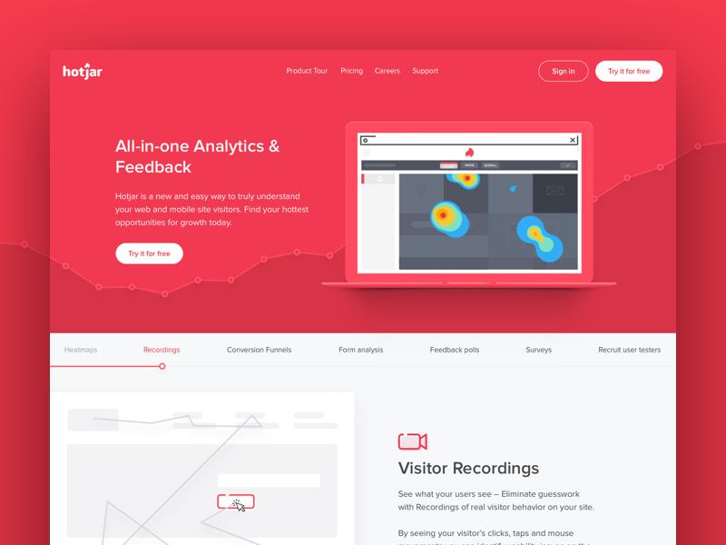 Hotjar Landing Page Concept test survey poll heatmap conversion graph feedback analytics website web landing page hotjar