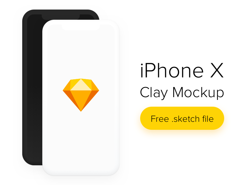 Download iPhone X Clay Mockup Freebie Sketch