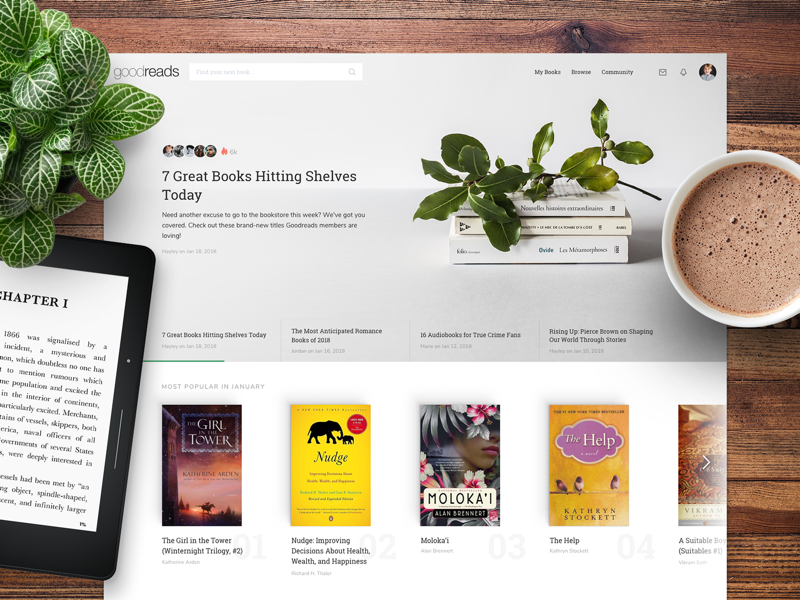 Goodreads Homepage Redesign sharing share page cover rating reading books goodreads application website landing