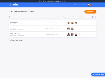 Slickplan Dashboard slickplan team grid photos avatars management dashboard list tiles