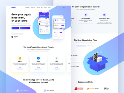 COBO - Secure crypto wallet website ux ui landing page website dapps blockchain wallet cryptocurrency