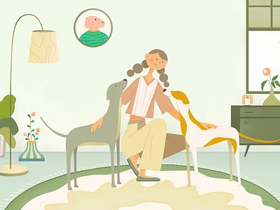 living room dog character design illustration