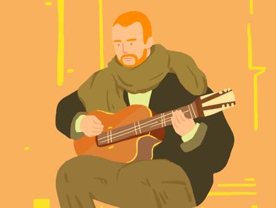 man play guitar