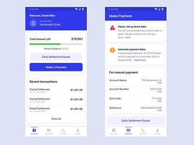 Loan Settlement App - Mobile loan calculator mobile app design loan app