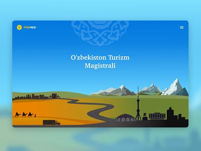 Tour map of Uzbekistan - Landing page travel design uzbekistan landing design tourism website