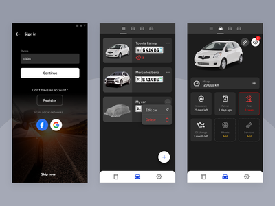 App to track your car car ui ui design mobile app app car service automobile auto car