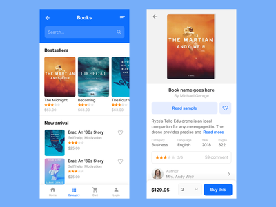 Books mobile app design product page design mobile app design books app bookshop bookstore uikits uikit books