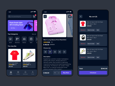 E-commerce app - dark mode product page shopping cart ui mobile app clean minimal ecommerce ui shop app ios shopping app ios app android shopping app e-commerce app dark mode