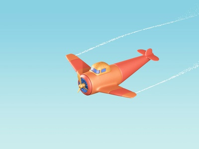 small plane motion graphics 3d