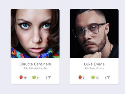 User profile card UI ui card dating