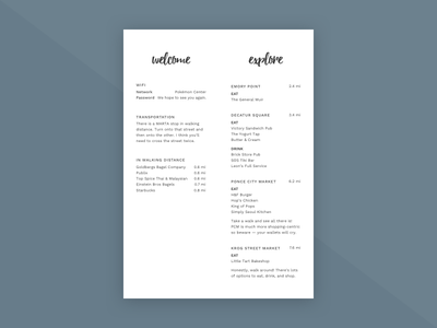 Welcome guest welcome welcome packet print