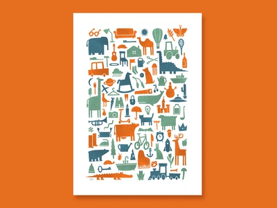 100 Things to Find - Children Poster animals transport poster print icon silhouette objects simple design procreate texture illustration