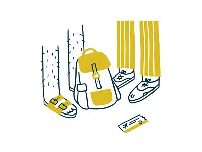 Wandering Shoes vagabond feet airport adventure ticket backpack illustration