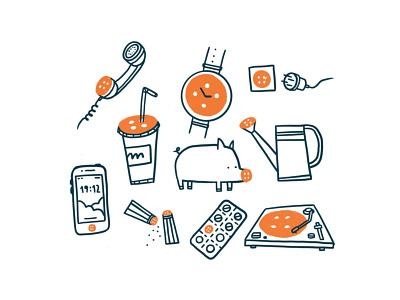 Button design illustration jack meds pill watering can watches drink phone pepper salt nose pig button vinyl