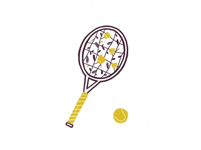 Unexpected texture tulip leaves racquet grid network flower ball tennis illustration