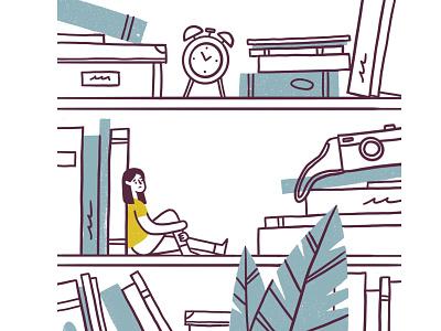 Reading List reading read camera alarmclock illustration character girl plant shelves shelf sad book