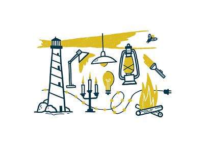 Light texture firefly bonfire fire lightbulb candle lighthouse light procreate illustration