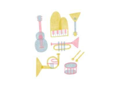 Music minimal pastel french horn trumpet balalaika drums guitar piano marker musical instrument procreate illustration