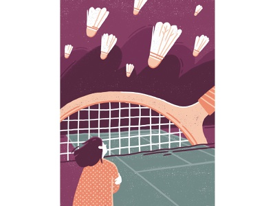 Fear badminton metaphor tennis court fear wind bombing shuttlecock tennis tennis racket girl character texture procreate illustration