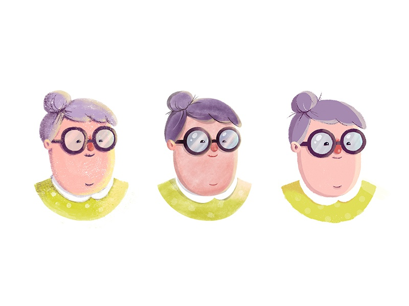 Style Exploration texture style exploration grandma illustration character old woman glasses grandmother granny