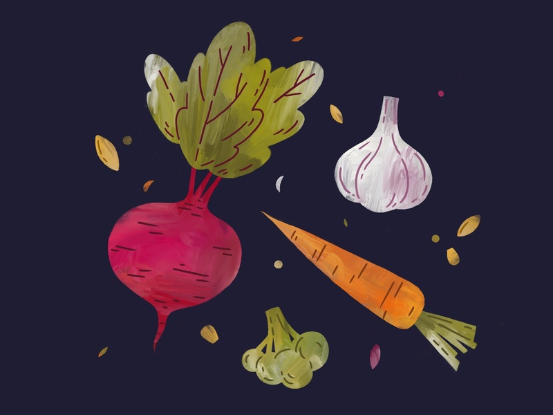 Veggies texture fresh stencil illustration oil paint procreate spice seeds corn carrot broccoli garlic beetroot beet greens veggies vegetables