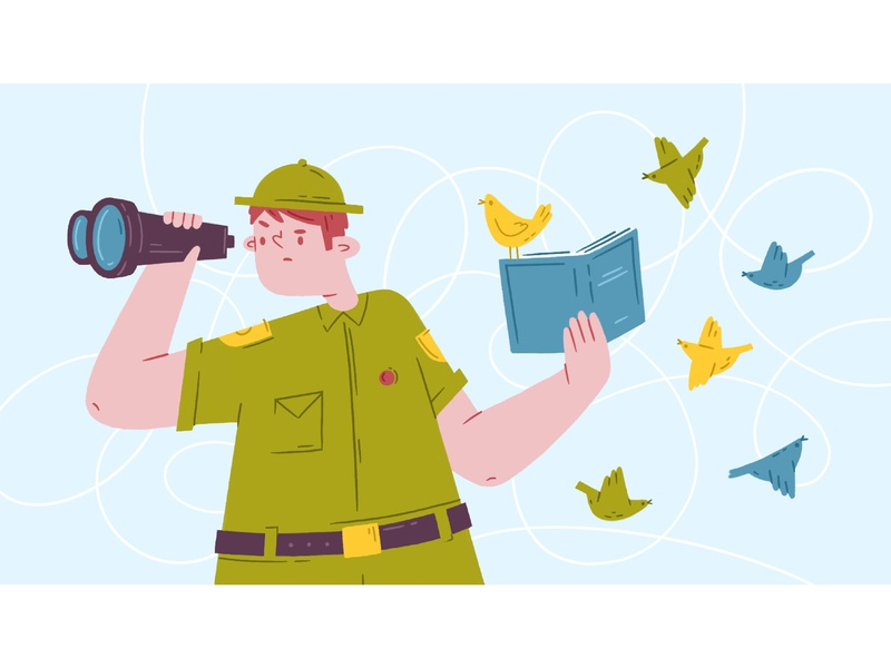 Birdwatcher comic bird binoculars book ornithologist boy-scout procreate illustration