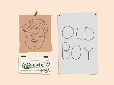 Old Boy wall room note cat doodle drawing illustration cute