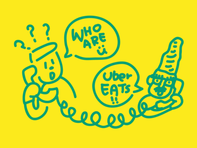 Uber Eats confused graphic illustrator character doodle drawing illustration cute phonecall ubereats