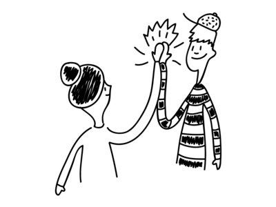 Hi Five boy girl illustrator cute character illustration doodle drawing black  white friends couple cheer up hand hi five