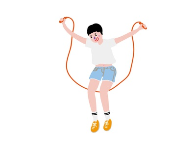 rope skipping exercise rope skipping self-portrait kawaii illustrator girl graphic character doodle drawing illustration cute