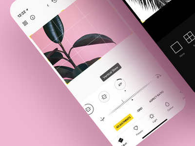 Photo Editor • clean minimal dark mode dark photography ios app design camera ios app ios photo editor photo