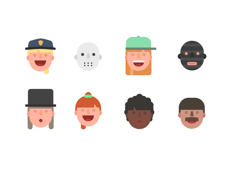 Some Friendly Faces flat people person structure face illustration faces