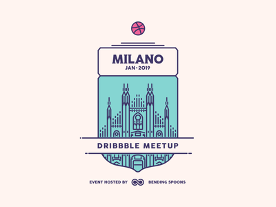 Announcing Milan Dribbble Meetup 2019 illustration meetup logo badge meeting dribbble milan