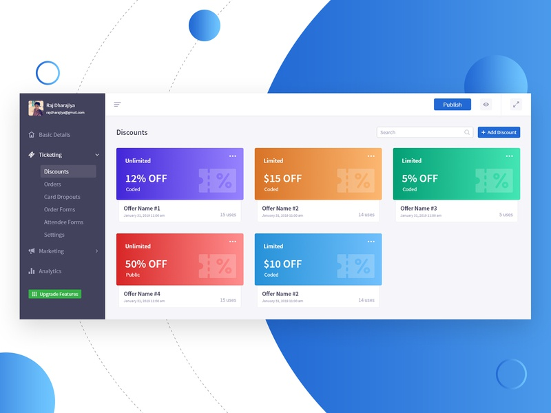 Dashboard Ticket Discount photoshop adobe xd xd dashboard template latest card design offers discount discount voucher discount code discount card discounts ticketing tickets ui ux user inteface user experience dashboard design dashboard