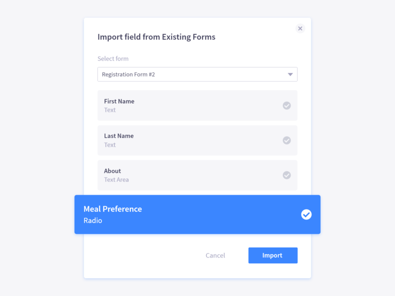 Import Form Fields user experience user interface register form forms form design form field registration form registration dashboard design dashboard dashboard ui ux ui graphics