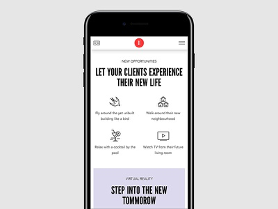 Let your clients experience their new life vive oculus vr icons red flat branding website maicle yukhtenko mike mobile