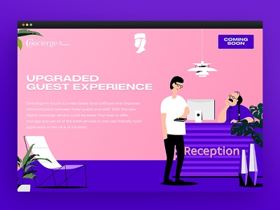 Concierge in Touch юхтенко майк maicle yukhtenko mike branding reception hotel illustration web landing