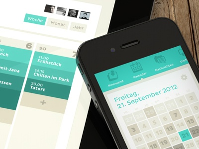 Clyp - Calender - iPhone + iPad ipad iphone ios ui calendar interface apple simple minimalism