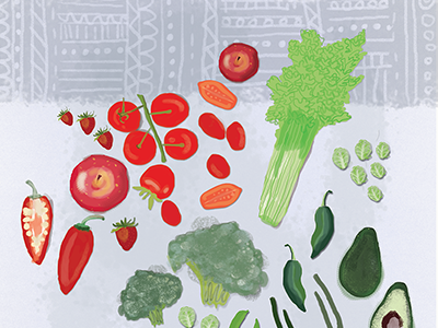 Illustrated Advent Calendar Day 3: Festive Veggies holidays festive advent calendar daily doodle pattern color vegetables digital illustration