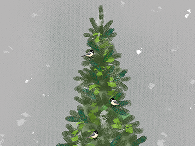 Illustrated Advent Calendar Day 4: Christmas Tree festive holidays christmas drawing daily doodle winter pattern color digital illustration