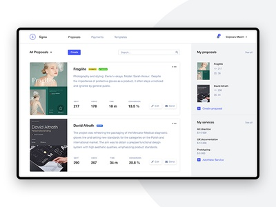 Sigma — proposals for designers [Day 6] sigma product design challenge 30 days ux ui it product creative proposals proposal generator impress dashboard