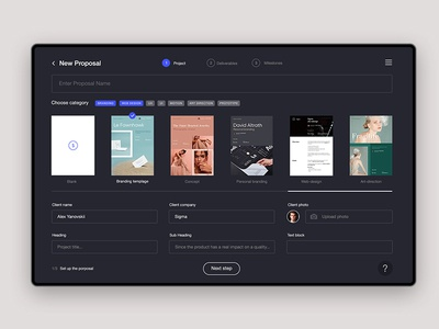 Sigma — proposals for designers [Day 8] sigma product design challenge 30 days ux ui it product creative proposals proposal generator impress dashboard
