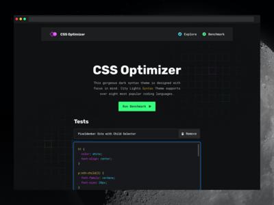CSS Optimizer minimal user interface benchmark night dark dashboard chart bar graph development dark theme night theme developer tool