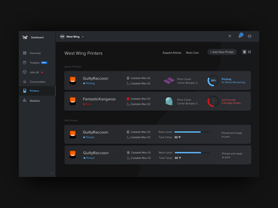 Dashboard Dark Ui side nav nav bar menu progress infographic icon ux dark dashboard 3d printing web app dark ui formlabs