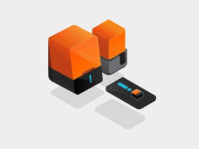 Iso Printer Illustrations 3d printer alert notification phone floating iso website illustration branding design icon