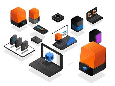 Formlabs ISO Products 3d isometric spot illustrations onboarding 3d printer printer vector art icon website branding design vector illustration